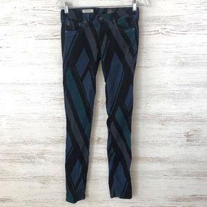 AG Corduroy Geometric Pattern Legging Skinny Pants